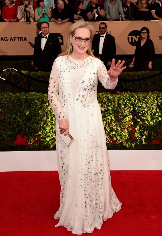 FLORLETT: Meryl Streeps hvite Valentino-kjole var dekorert med sorte svaler. Nagledetaljene på clutchvesken piffet opp antrekket. Foto: Scott Kirkland/PictureGroup/ NTB Scanpix