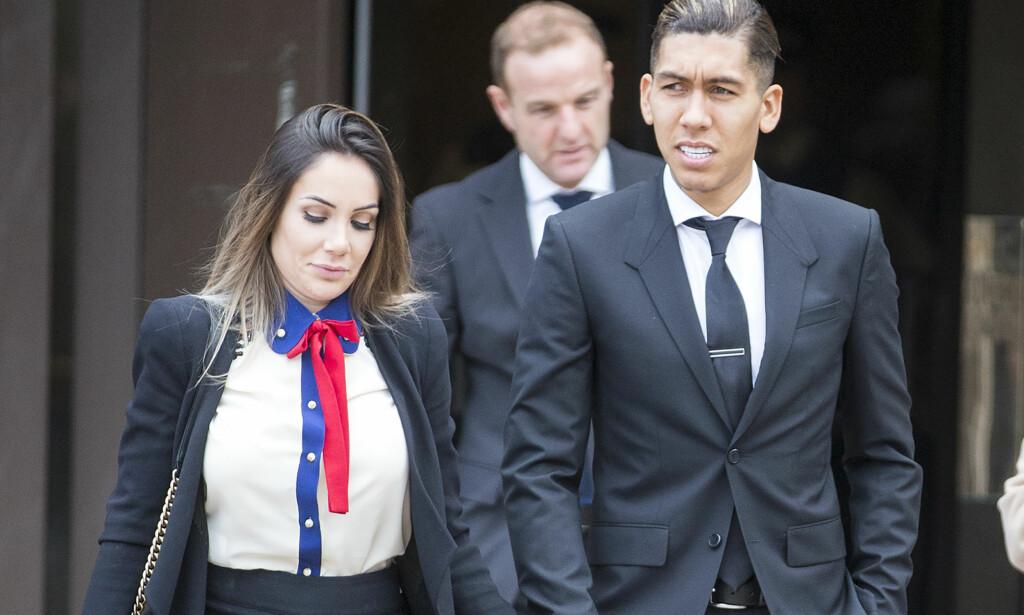 MISTER LAPPEN: Liverpool-spiller Roberto Firmino med sin kone Larissa utenfor retten tidligere i dag. Foto: Andrew McCaren/LNP/REX/Shutterstock/NTB Scanpix