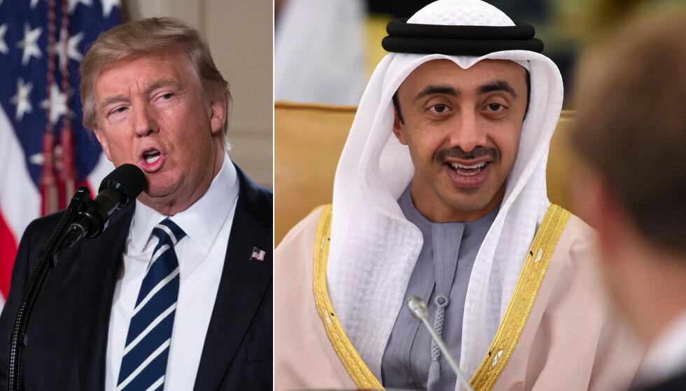 - IKKE MUSLIMFIENDTLIG: Utenriksministeren Abdullah bin Zayed al-Nahyan, som er sjeik og sønn av Emiratenes grunnlegger, mener Trumps innreiseforbud ikke er muslimfiendtlig eller islamofobisk. Det sa han i går. Her ved en annen anledning. Foto: AFP Photo / NTB Scanpix