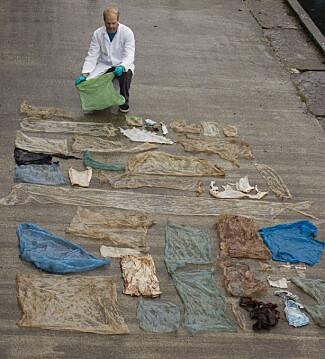 TRIST: Christoph Noever med de 30 plastposene som lå i buken på hvalen. Foto: Christoph Noever, UiB