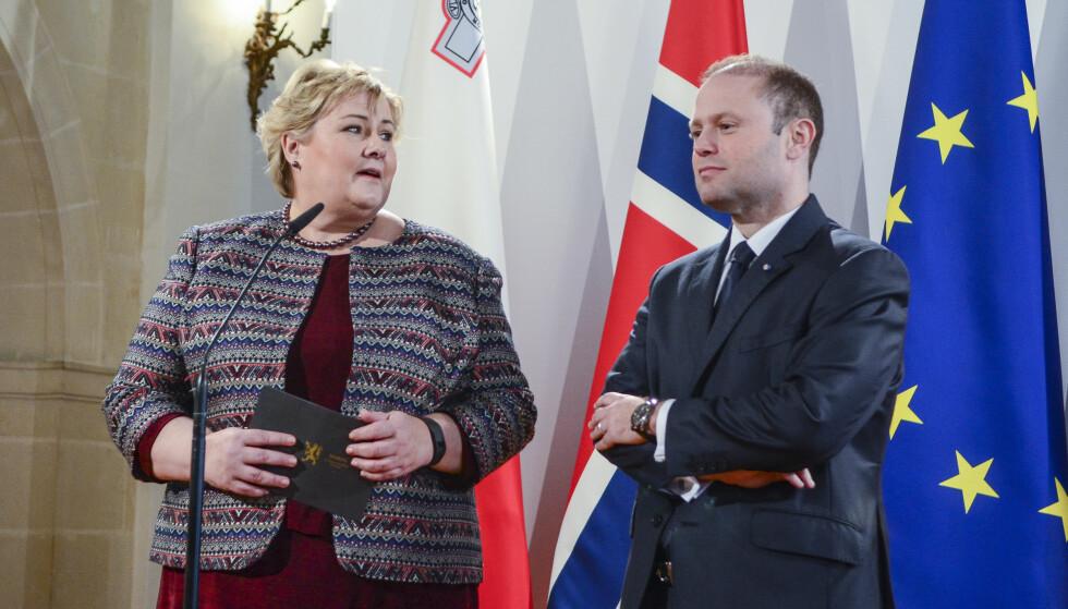 MALTA: Statsminister Erna Solberg (H) besøkte i går Malta for politiske samtaler med statsminister Joseph Muscat. Malta har formannskapet i EU dette halvåret. Foto: Johan Falnes / NTB scanpix