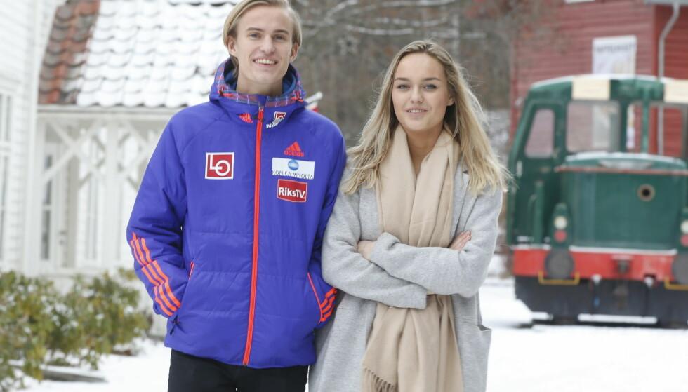 SAMMEN: Daniel-André Tande og kjæresten Anja besøkte Hadeland Glassverk denne uka. Foto: Terje Pedersen / NTB Scanpix