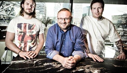 MICHELIN-OSLO: Esben Holmboe Bang, Maaemo (t.h), Bent Stiansen, Statholdergaarden og Mikael Svensson (t.v).   Foto: Hans Arne Vedlog   /  Dagbladet