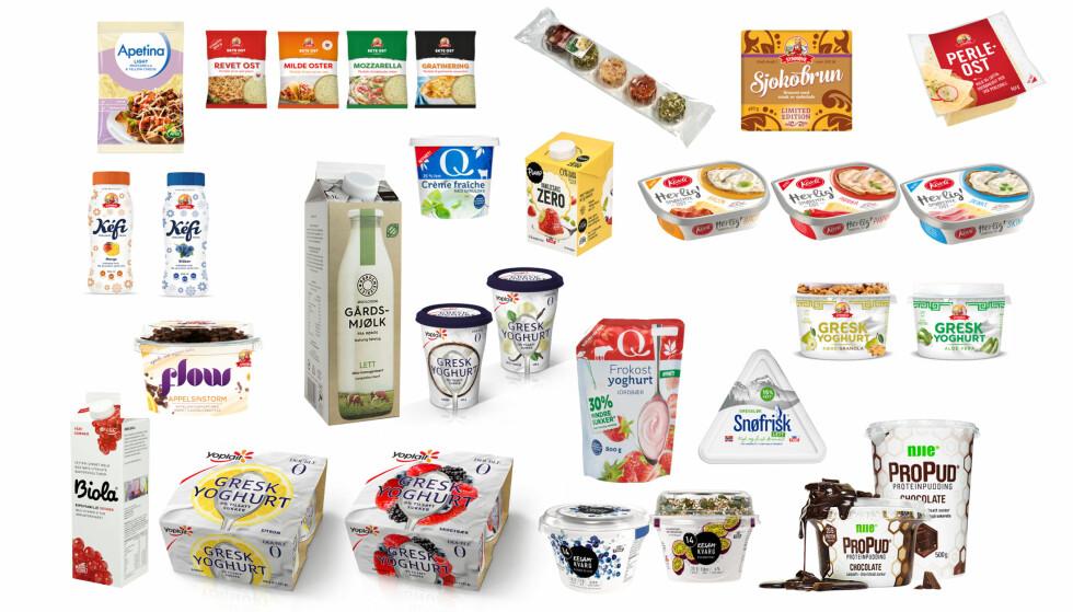 PRODUKTNYTT: Ost, melk, yoghurt - og den helt nye kategorien proteinpudding og -milkshake. Her er noen av nyhetene som er på vei til butikk - nå! Foto: Produsentene