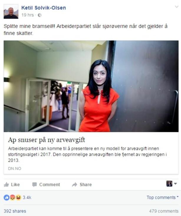 SPLITTE MINE BRAMSEIL: Samferdselsminister Ketil Solvik-Olsen delte i går kveld en ett år gammer artikkel om Arbeiderpartiets tanker rundt arveavgiften. Skjermdump: Facebook