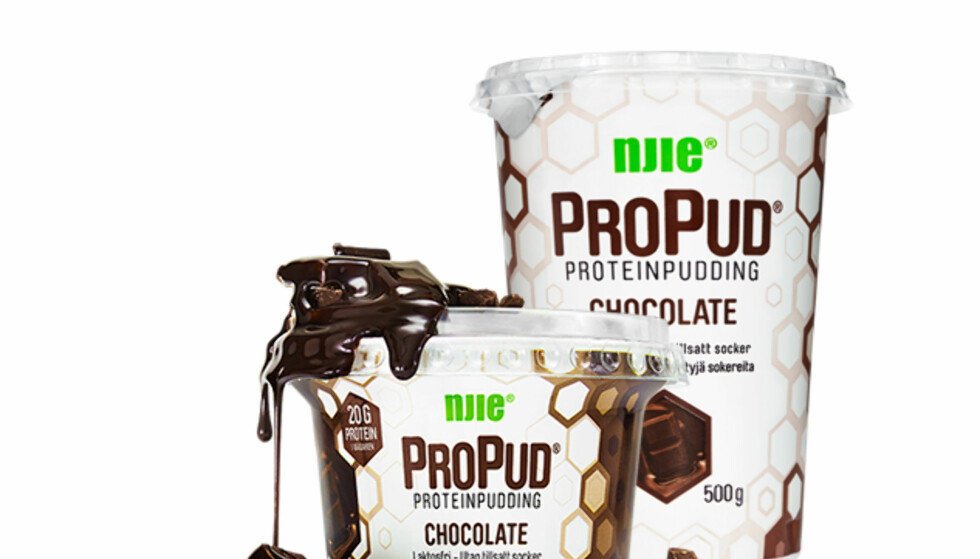 PROTEINRIKT: Svenske ProPud proteinpudding og proteinmilkshake lanseres nå i Norge i en rekke ulike smaker. Foto: NJIE