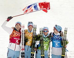 TRIUMF: OL-gull på stafetten i 2014 er at av høydepunktene til Magnus Moan (t.v.). Her sammen med Magnus Krog, Håvard Klemetsen og Jørgen Graabak. Foto: Bjørn Langsem