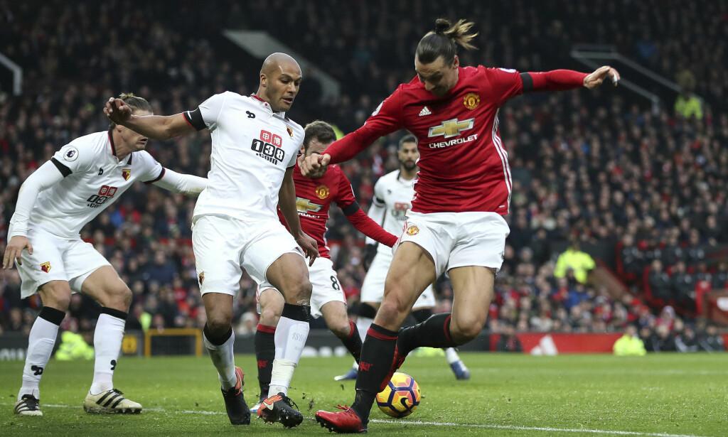 UAVKLART: Zlatan Ibrahimovic i aksjon mot Watford på Old Trafford. Manchester United vant kampen 2-0. Foto: Nick Potts / AP / NTB scanpix<div><br></div>