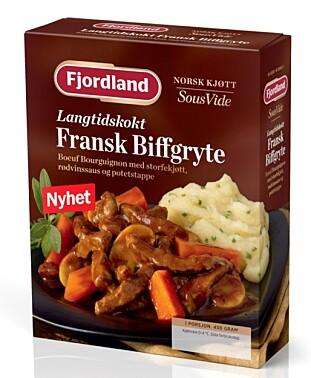 FAST SLOW FOOD: Serveringsklar «Boef Bourgignon»  med potetmos - alt du trenger å gjøre er å varme den. Foto: Produsenten