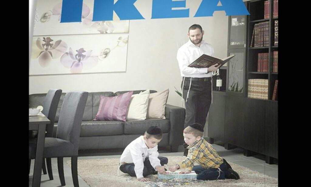 INGEN KVINNER: Ikea Israel har i ettertid beklaget at det ikke var noen kvinner i katalogen. De har sagt at de forstår at folk ble opprørt, og at de vil kommunisere med målgruppen på en måte som både lever opp til Ikeas verdier, samtidig som de viser respekt for religiøse minoriteter. Foto: Ikea Israel