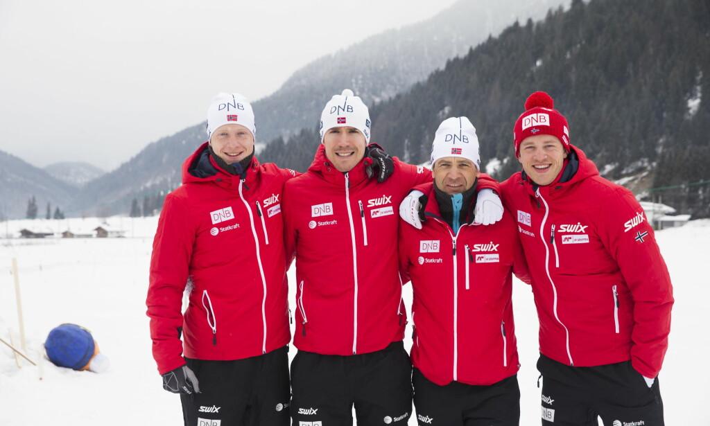 POPULÆRE Tarjei Bø, Ole Einar Bjørndalen, Emil Hegle Svendsen og Johannes Thingnes Bø er attraktive også blant utenlandske fans. Lørdag går de stafett. Foto: Berit Roald / NTB scanpix