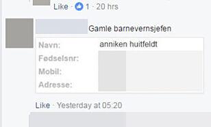 FJERNET: Facebook har nå fjernet noe av innholdet i tråden. Foto: Skjermdump / Facebook
