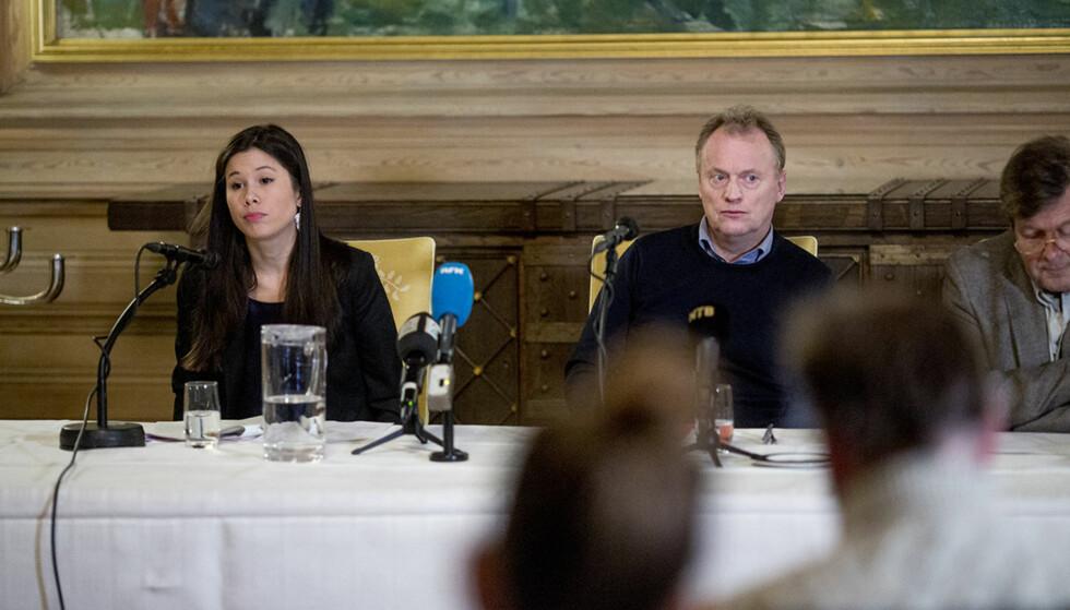 OSLO KOMMUNE: Samferdselsbyråd Lan Marie Nguyen Berg og byrådsleder Raymond Johansen på pressekonferanse i ettermiddag. Foto: Sveinung Uddu Ystad / Dagbladet