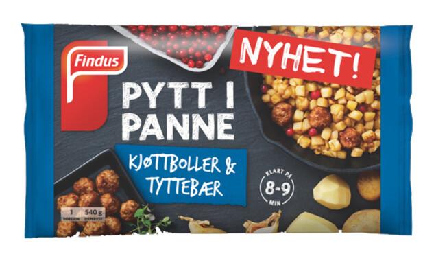 PYTT I PANNE: Findus har redesignet Pytt i Panne-pakkene, og utvider sortimentet med en med kjøttboller og tyttebær.