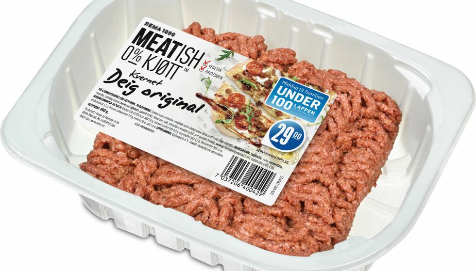 """MEATISH: Kjøttfri """"kjøttdeig"""" fra Nortura lanseres på Rema 1000 neste uke, ett av mange nye vegetariske alternativer til kjøtt. Denne ser så lik ut at vi kunne funnet på å ta feil i diskenl. (NB! Dette er en illustrasjon av det ferdige produktet - originalen ser langt likere ut enn denne.) Illustrasjon: Nortura"""