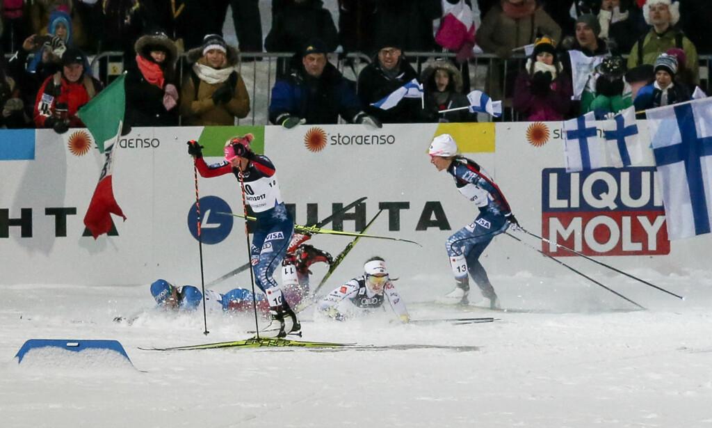 Kolliderte: Stina Nilsson og Natalya Matveeva. Foto: Olimpik/NTB Scanpix