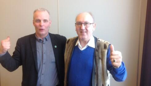 TILBAKE: Bengt Stabrun Johansen og Steinar Bastesen er begge fornøyde etter å ha blitt valgt til førstekandidater i henholdsvis Finnmark og Troms. Foto: Kystpartiet