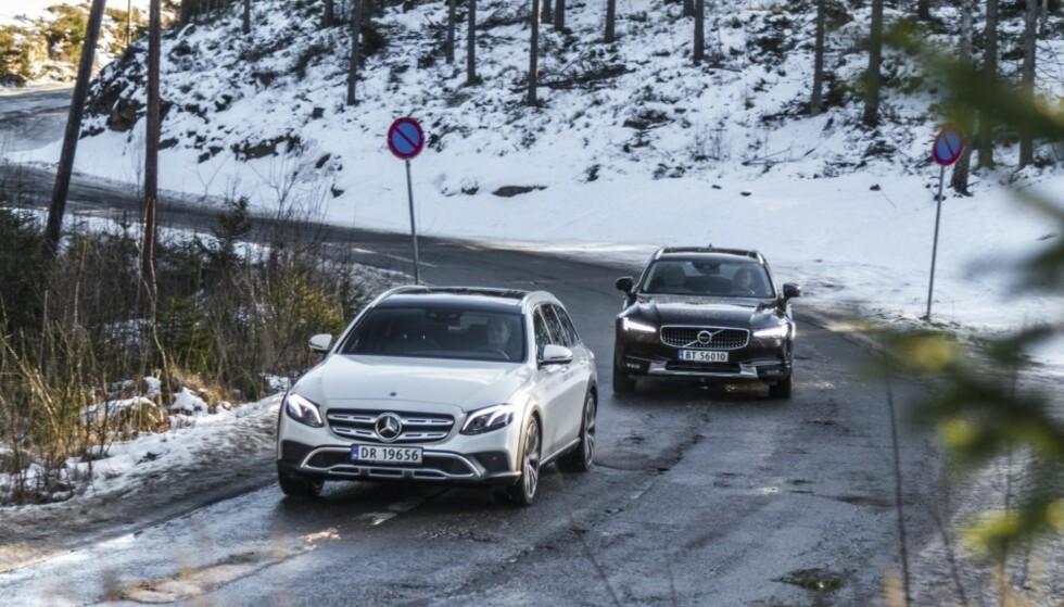 DUELL: Mercedes har aldri tidligere tilbudt biler i dette segmentet, mens Volvo erstatter sin suksess V70 Cross Country. Alle bilder: Jameison Pothecary