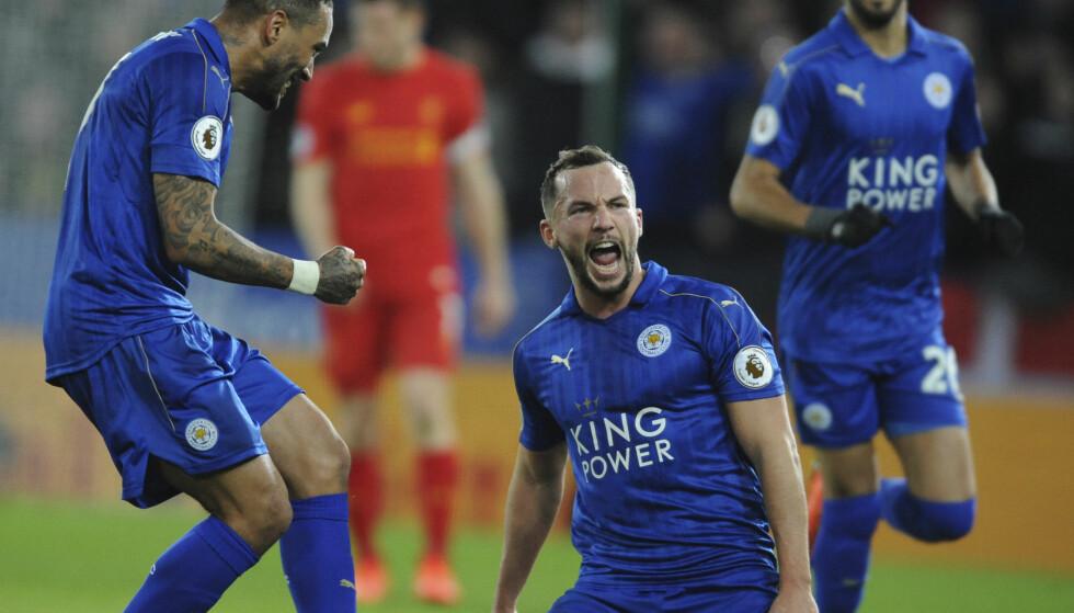 MÅLSCORER: Daniel Drinkwater kunne feire etter en perlescoring mot Liverpool FC. Foto: AP Photo/Rui Vieira/NTB Scanpix