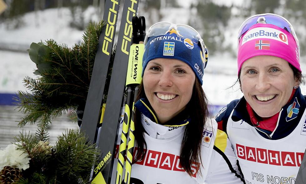 BJØRGEN-KONKURRENT: Charlotte Kalla. Her etter blomstersermonien på 10 km klassisk i Lahti. Foto:  Bjørn Langsem / Dagbladet