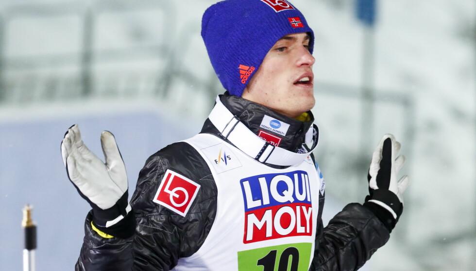 FRUSTRERT: Daniel-André Tande fikk det ikke til på trening i kveld. Foto: Terje Pedersen / NTB Scanpix