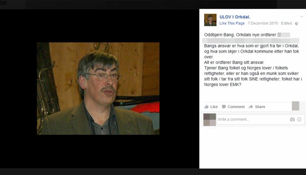 HENGT UT: Nå pryder ordføreren en hatgruppe på Facebook, der Skarsvågs sak er sentral. Faksimile: Facebook