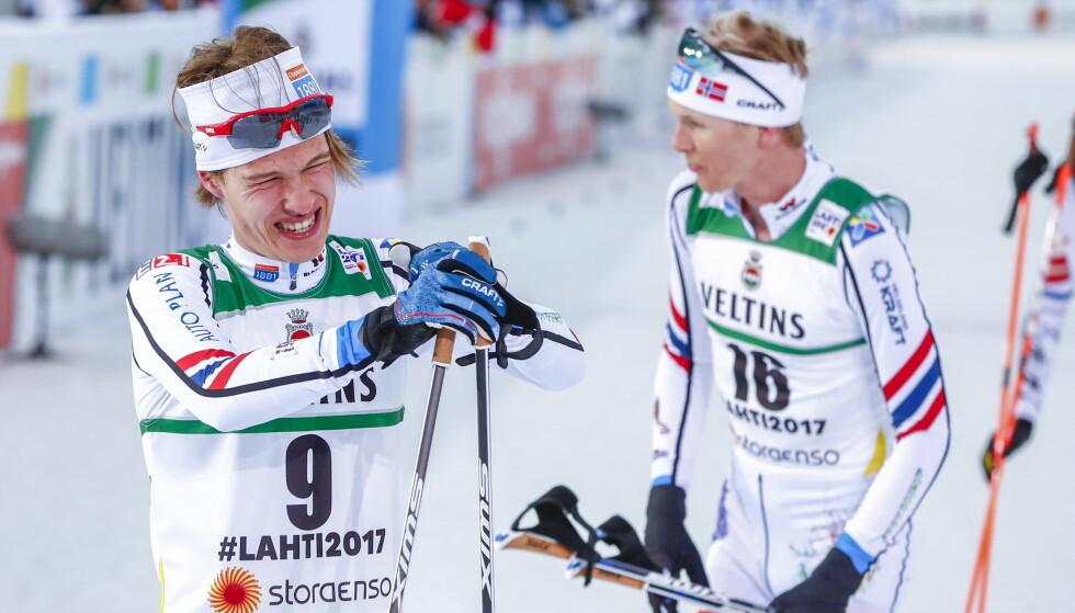 INGEN STOR DAG: Espen Andersen ble beste norske på 10 km kombinert i ski-VM 2017 i Lahti, Finland, onsdag.  Magnus Krog t.h. Foto: Terje Pedersen / NTB scanpix