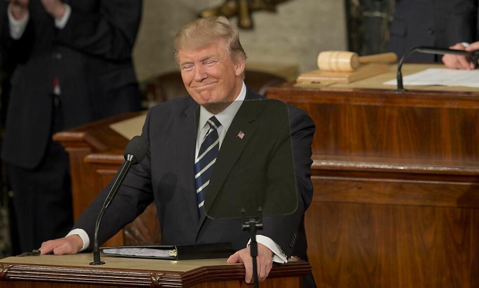 President Donald Trump lokket et TV-publikum på nesten 48 millioner i USA da han holdt sin første tale til Kongressen tirsdag kveld. Foto: Greg E. Mathieson Sr. / REX / Shutterstock / NTB scanpix