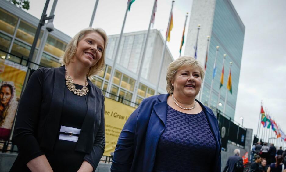ANSVARLIG: I Norge har vi heldigvis et ansvarlig konservativt parti med gode demokratiske ryggmargsreflekser. Men med Listhaug som en såret tiger på Stortinget blir utfordringene enda mer akutt for Høyre de neste tre årene, skriver kronikkforfatteren. På bildet Sylvi Listhaug (Frp) og Erna Solberg (H). Foto: Øistein Norum Monsen
