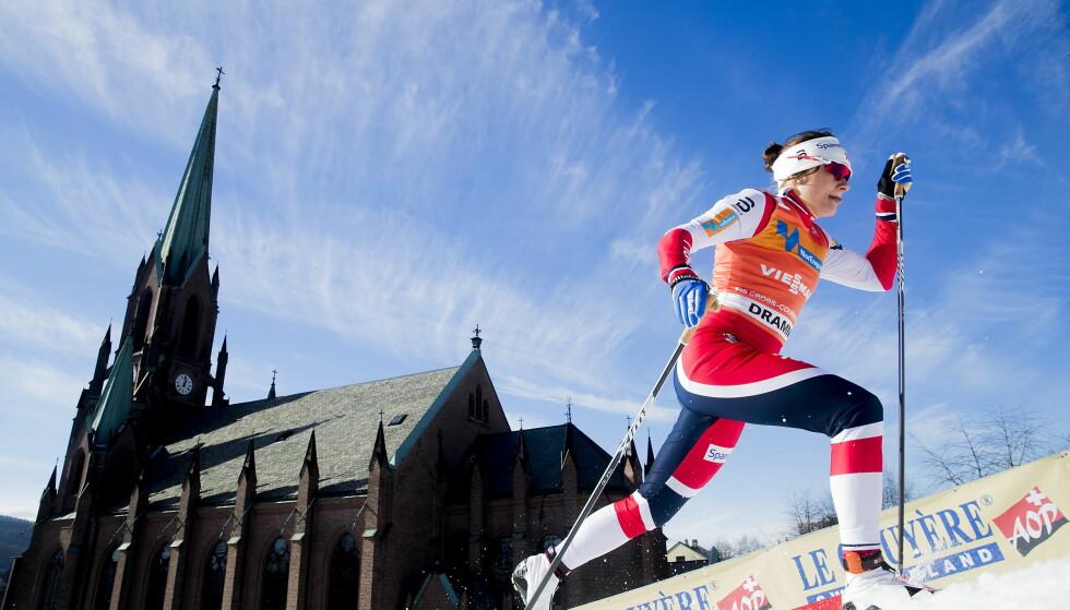 UTSLÅTT:  Maiken Caspersen Falla fortvilte etter at hun røk ut av prologen i Drammen-sprinten. Foto: Bjørn Langsem / Dagbladet