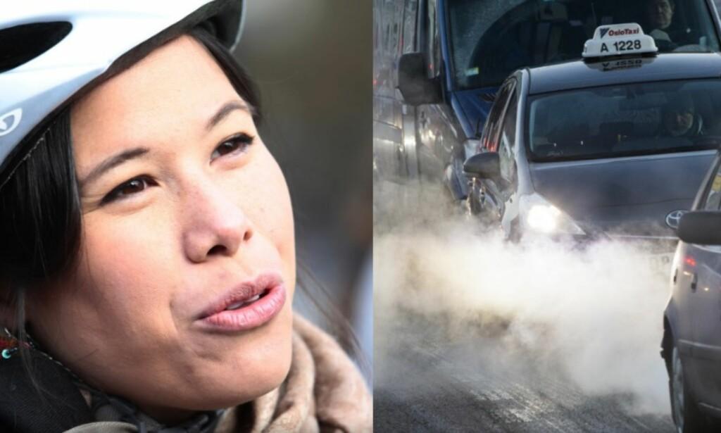 MILJØBYRÅDEN: Lan Marie Nguyen Berg fra Miljøpartiet De Grønne har kjørt diesel-taxi 20 ganger siden hun fikk makta. Foto: Berit Roald og Håkon Mosvold, NTB Scanpix. Fotomontasje: Dagbladet.