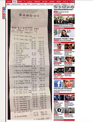 REGNINGEN: Det ble dyrt for Drake på restaurant i Stockholm. Foto: Faksimile/Expressen.se