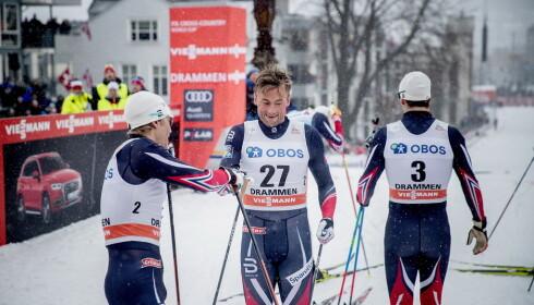 HARD KAMP: Petter Northug kjemper med blant annet Eirik Brandsdal og Sondre Turvoll Fossli om å gå seg inn i verdenscuptroppen til Davos neste helg. Foto: Bjørn Langsem / Dagbladet
