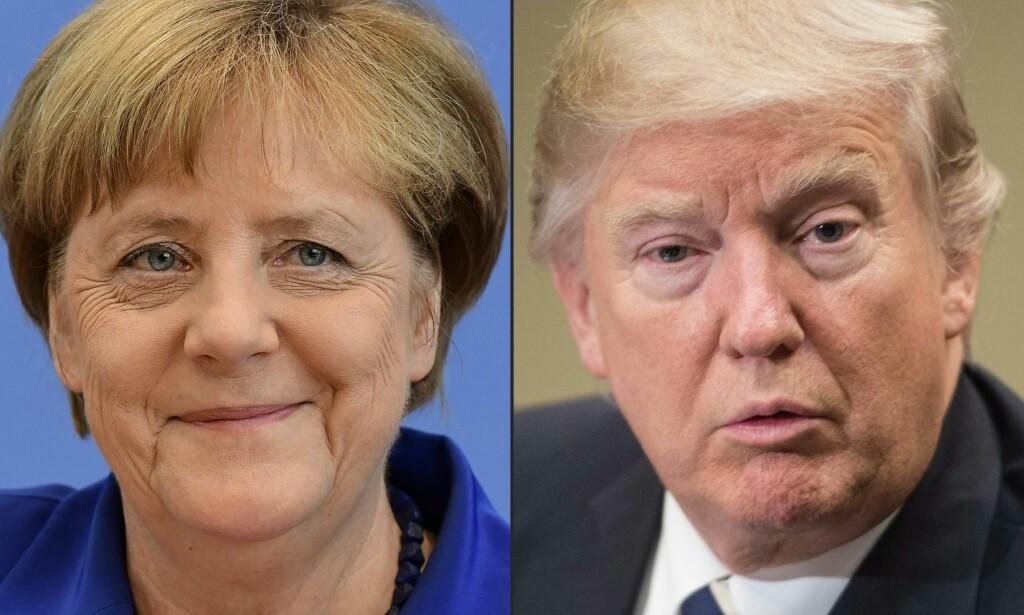 PÅ TOMANNSHÅND: Tysklands statsminister, Angela Merkel, og USAs president, Donald Trump, skal møtes under fire øyne få timer etter Trump omtalte Tyskland som «Russlands fange». Foto: AFP PHOTO / TOBIAS SCHWARZ AND NICHOLAS KAMM