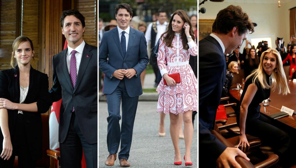 <strong>CANADAS «WONDERBOY»:</strong> Justin Trudeau avbildet med profilerte kvinner som Emma Watson, hertuginne Kate og Ivanka Trump. Privat er det derimot kona Sophie Grégoire som gjelder. Foto: NTB scanpix