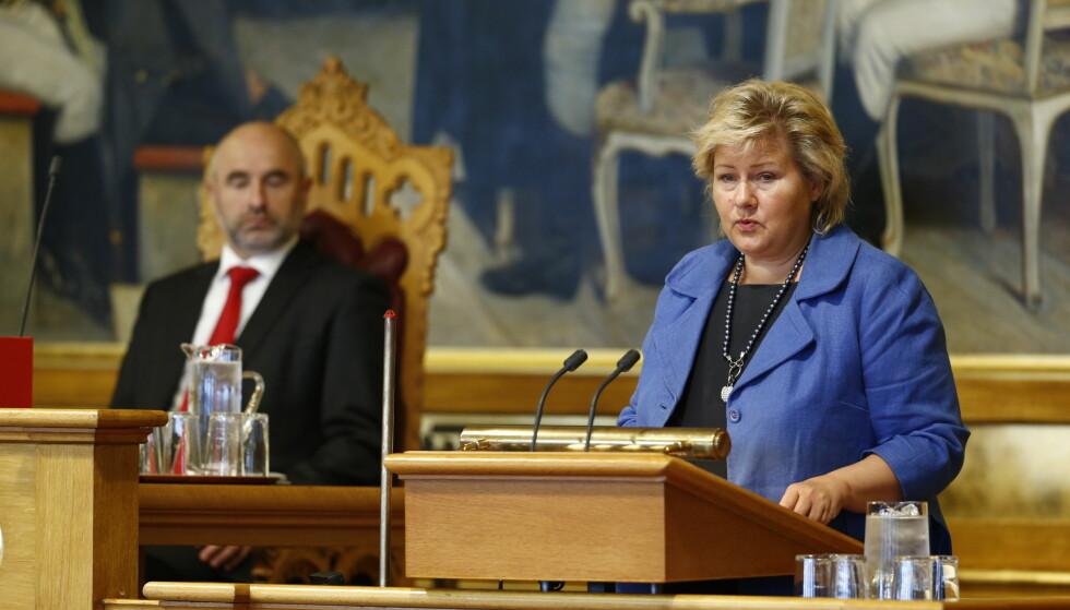 KLAR TALE? Artikkelforfatter Dag Terje Andersen da han var Stortingspresident (t.v.) og Høyre-leder Erna Solberg. Foto: Heiko Junge / NTB scanpix