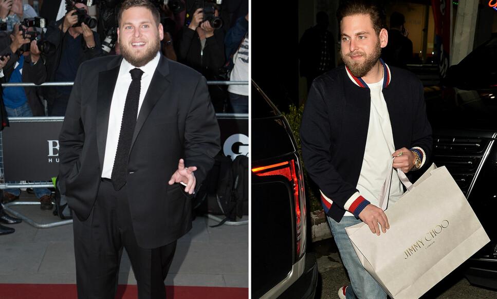 NED I VEKT: Skuespiller Jonah Hill har gått kraftig ned i vekt den siste tida. Her forlater han et middagsselskap i regi av Jimmy Choo tirsdag. På bildet til venstre er han avbildet i 2014. Foto: Pa Photos/ Splash News/ NTB scanpix