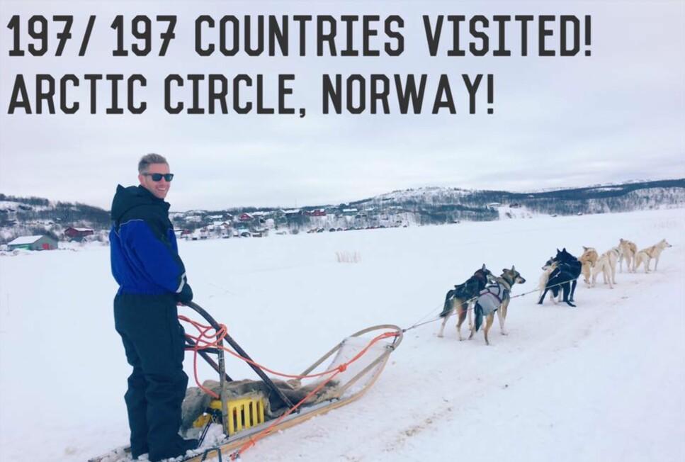 HAPPY ENDING: Johnny Ward fikk den avslutningen på sin ti år lange verdensreise som han ønsket - å få oppleve Nord-Norge. Foto: Onestep4ward