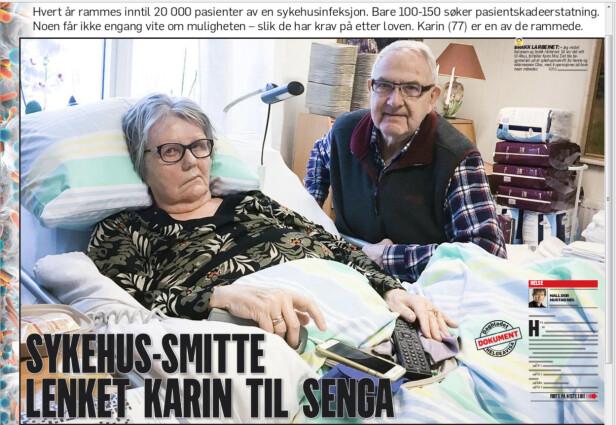KARIN BLE RAMMET: Karin Moi (77), her med ektemannen Olav, er blant dem som har blitt rammet av en sykehusinfeksjon. Faksimile av Dagbladet lørdag.