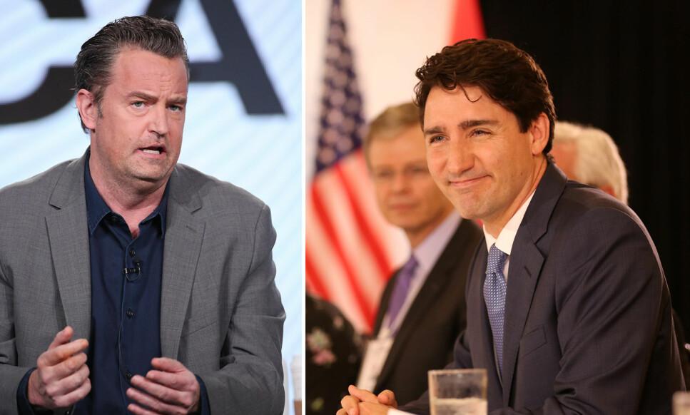 IKKE STOLT: Skuespiller Matthew Perry avslører at han banket opp Justin Trudeau (t.h.), som nå er Canadas statsminister, da de gikk på samme barneskole. Foto: NTB scanpix
