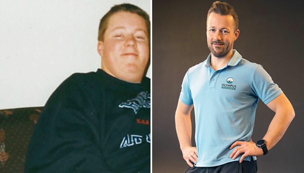ENORM FORVANDLING: Bjørn Myhre Nilsen veide 125 kilo da han begynte å slanke seg. I dag jobber han som personlig trener. Foto: Morten Eik og privat