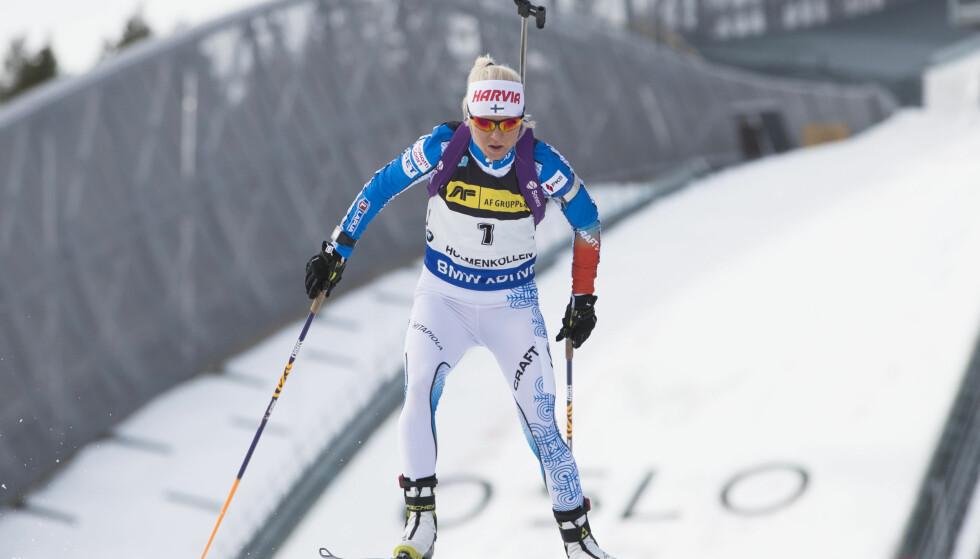 FORBAUSER: Mari Laukkanen vant skiskytterjakstarten i Holmenkollen helt suverent. Foto: Håkon Mosvold Larsen / NTB scanpix