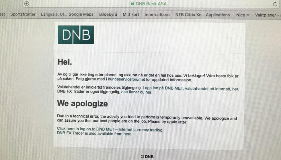 PROBLEMER: DNB og flere andre banker er rammet av nettbanktrøbbel. Foto: Lise Åserud / NTB scanpix