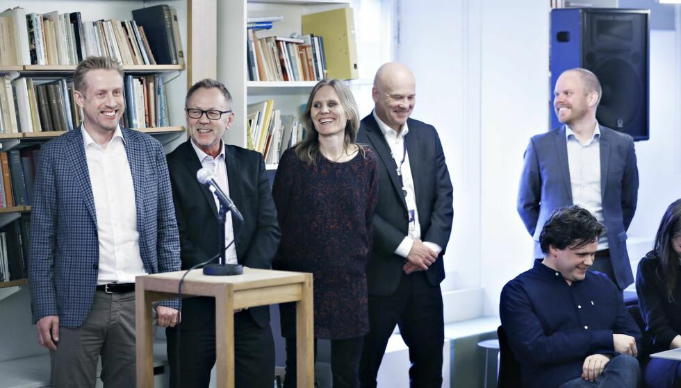 TRÅR TIL: Dagbladet, VG og NRK skal samarbeide for å kjempe mot falske nyheter. Her fra pressekonferansen i Litteraturhuset tirsdag. Foto: Bjørn Langsem / Dagbladet.