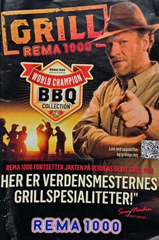 GRILLMAT: Sven Nordin har i flere år frontet Rema 1000s grillsatsning, som hovedsakelig har vært for kjøttprodukter, men nå er det faktisk tre år siden sist. Faksimile fra kampanje i 2013 / Dinside