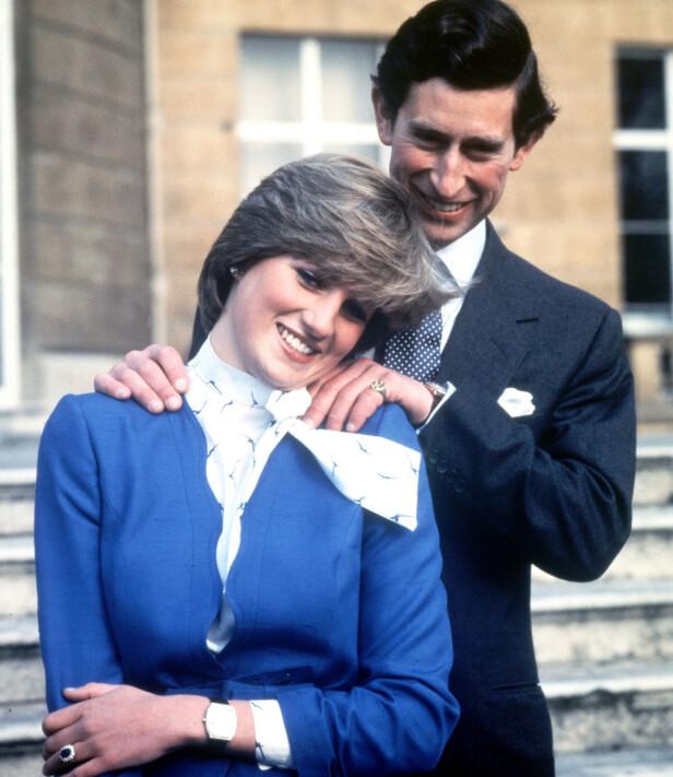 VANSKELIG FORHOLD: Prins Charles og Diana Spencer avbildet i februar 1981, da de offentliggjorde sin forlovelse. Foto: AP / NTB scanpix