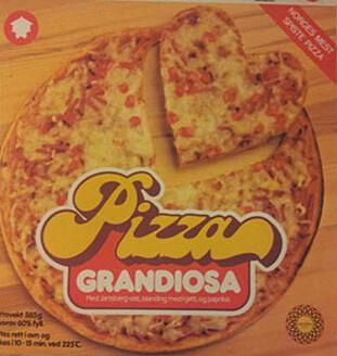 NORSKTILPASSET PIZZA: Grandiosaen er laget for den norske ganen på 80-tallet; med søt tomatsaus, skinkekjøtt og Jarlsberg-ost. FOTO: Orkla Foods