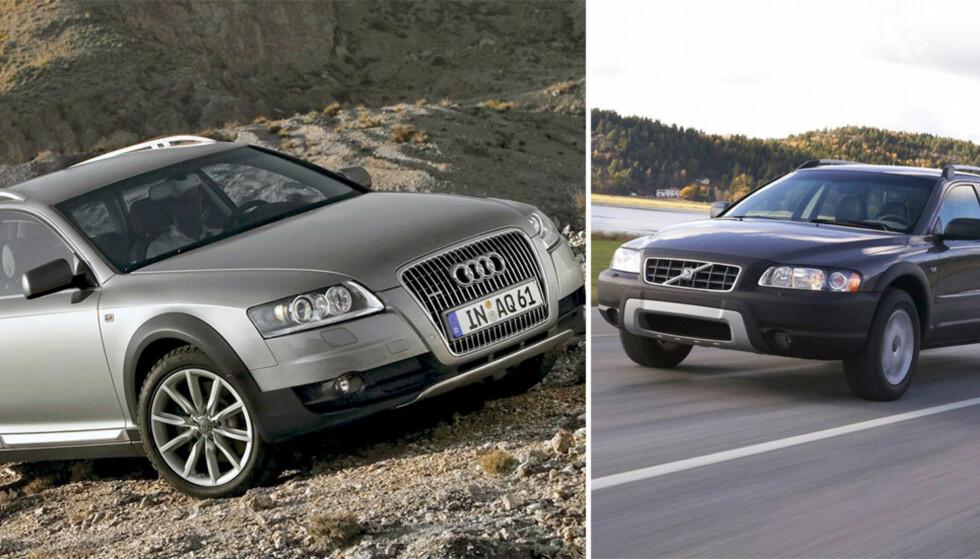 CROSSOVERDUELL: Audi A6 Allroad og Volvo XC70 er ikke helt SUV, og ikke helt personbil, men det er steike fine crossovers. Vi har testet dem mot hverandre for å finne vår favoritt blant de to folkefavorittene. Foto: Kaj Alver