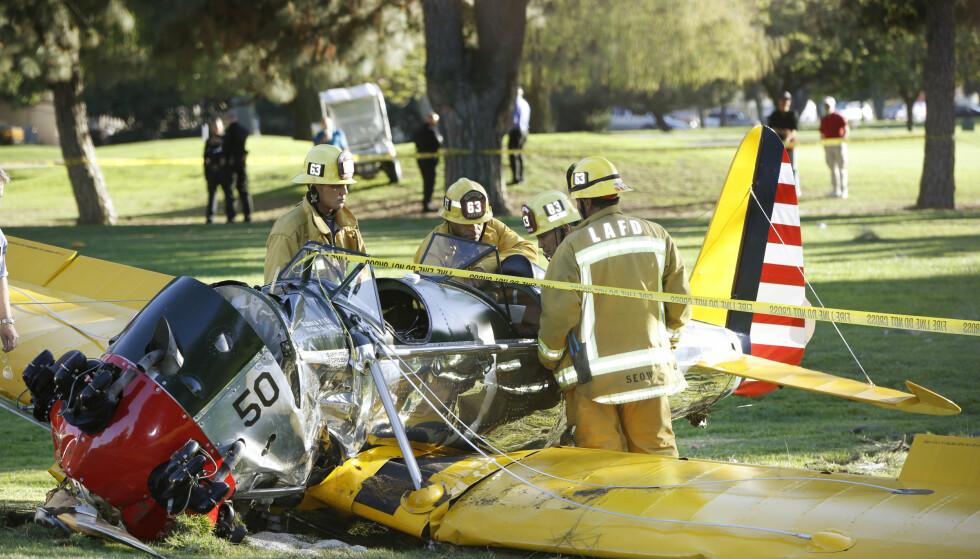 PÅ BANEN: Harrison Ford krasjet våren 2015 på en golfbane. Foto: NTB scanpix, AP