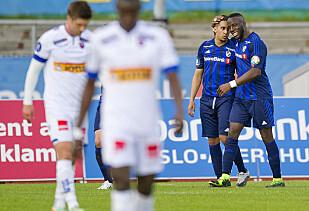 JUBEL: Adama Diomandé hadde større grunn til å juble i Stabæk, mener han. Foto: Jon Olav Nesvold / NTB Scanpix